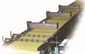 Top view of flash-off conveyor dry cut system